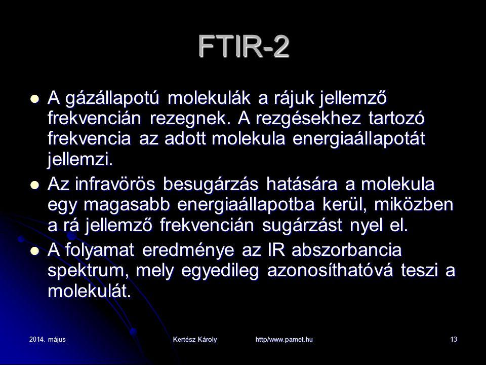 2014. májusKertész Károly http/www.pamet.hu13 FTIR-2 A gázállapotú molekulák a rájuk jellemző frekvencián rezegnek. A rezgésekhez tartozó frekvencia a