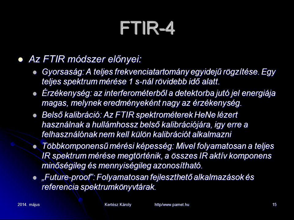 2014. májusKertész Károly http/www.pamet.hu15 FTIR-4 Az FTIR módszer előnyei: Az FTIR módszer előnyei: Gyorsaság: A teljes frekvenciatartomány egyidej