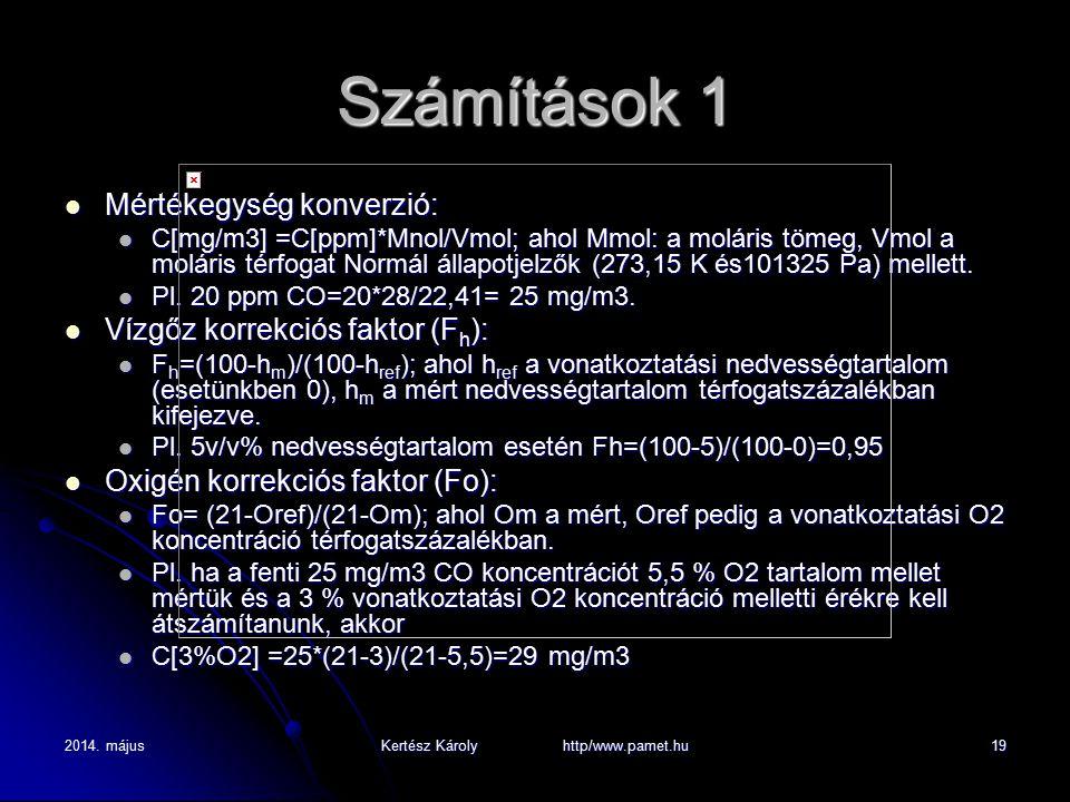 2014. májusKertész Károly http/www.pamet.hu19 Számítások 1 Mértékegység konverzió: Mértékegység konverzió: C[mg/m3] =C[ppm]*Mnol/Vmol; ahol Mmol: a mo