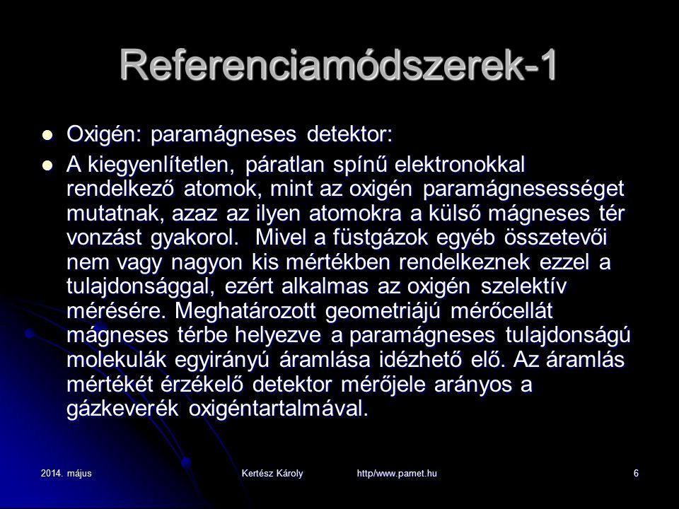2014. májusKertész Károly http/www.pamet.hu6 Referenciamódszerek-1 Oxigén: paramágneses detektor: Oxigén: paramágneses detektor: A kiegyenlítetlen, pá