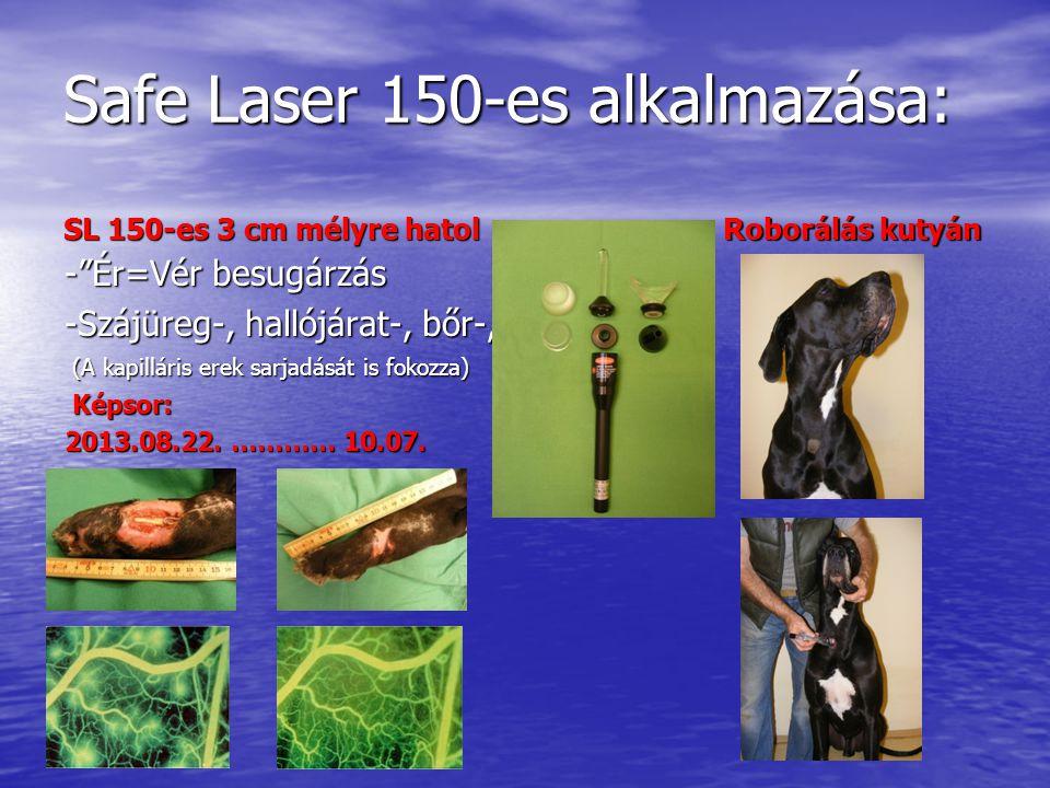 Safe Laser 150-es alkalmazása: SL 150-es 3 cm mélyre hatol - Ér=Vér besugárzás -Szájüreg-, hallójárat-, bőr-, (A kapilláris erek sarjadását is fokozza) (A kapilláris erek sarjadását is fokozza) Képsor: Képsor: 2013.08.22.