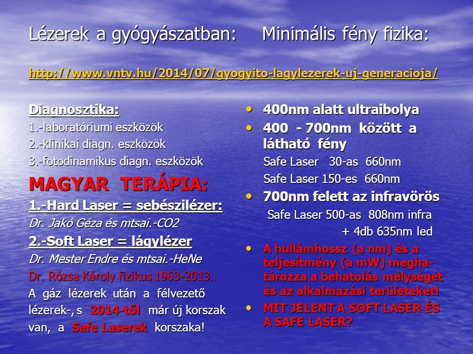 Lézerek a gyógyászatban: Minimális fény fizika: http://www.vntv.hu/2014/07/gyogyito-lagylezerek-uj-generacioja/ http://www.vntv.hu/2014/07/gyogyito-lagylezerek-uj-generacioja/ Diagnosztika: 1.-laboratóriumi eszközök 2.-klinikai diagn.
