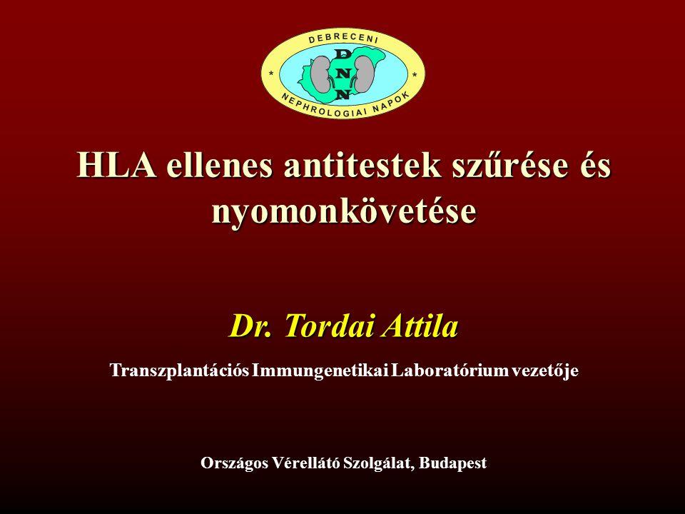 HLA ellenes antitestek szűrése és nyomonkövetése Dr. Tordai Attila Transzplantációs Immungenetikai Laboratórium vezetője Országos Vérellátó Szolgálat,