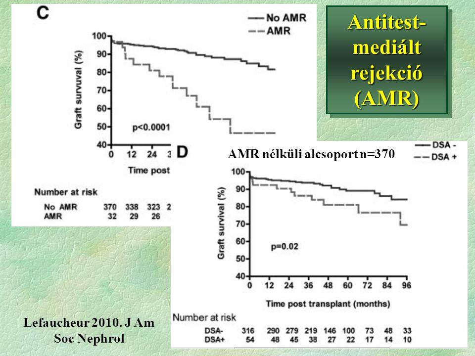 Antitest- mediált rejekció (AMR) Lefaucheur 2010. J Am Soc Nephrol AMR nélküli alcsoport n=370