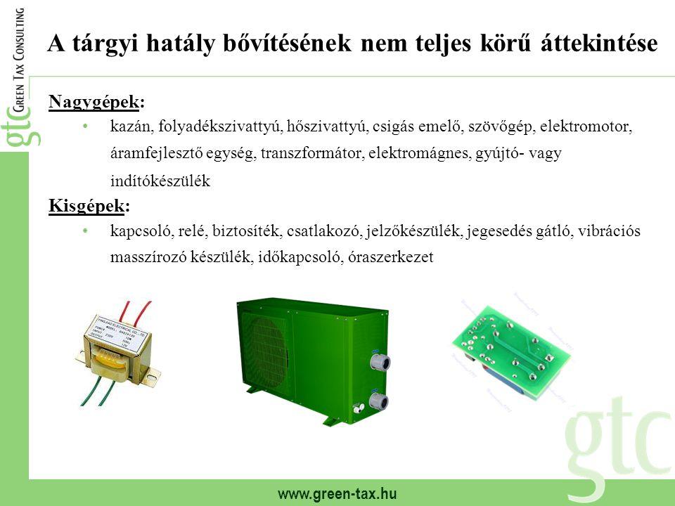 www.green-tax.hu A tárgyi hatály bővítésének nem teljes körű áttekintése Nagygépek: kazán, folyadékszivattyú, hőszivattyú, csigás emelő, szövőgép, ele