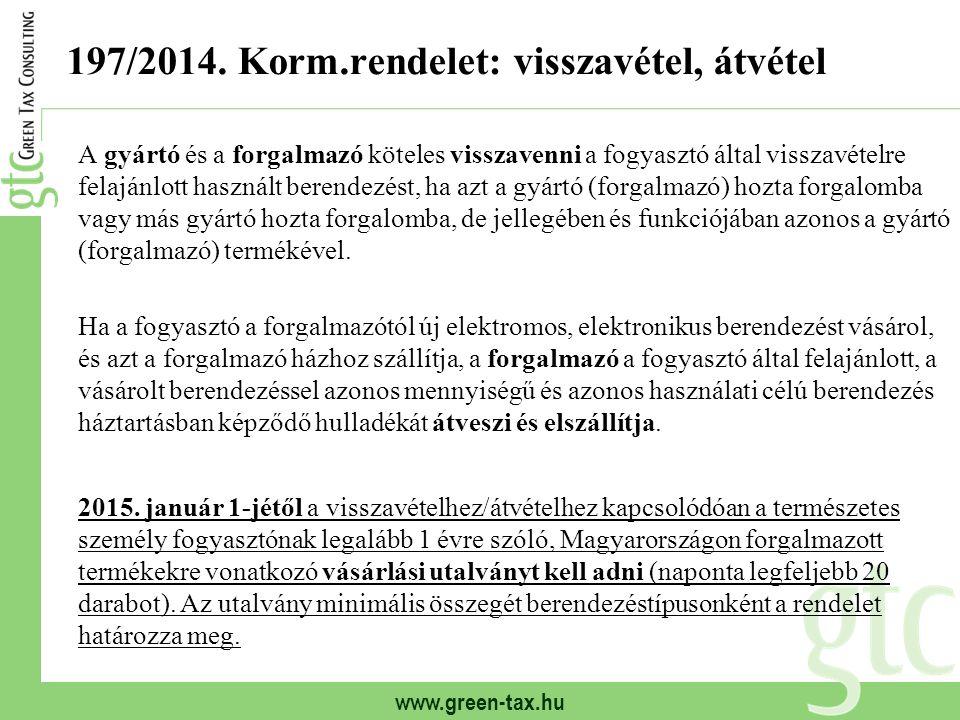 www.green-tax.hu 197/2014. Korm.rendelet: visszavétel, átvétel A gyártó és a forgalmazó köteles visszavenni a fogyasztó által visszavételre felajánlot