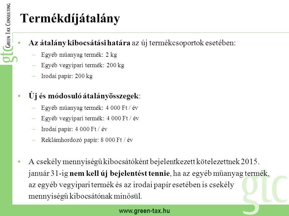 www.green-tax.hu Termékdíjátalány Az átalány kibocsátási határa az új termékcsoportok esetében: –Egyéb műanyag termék: 2 kg –Egyéb vegyipari termék: 2
