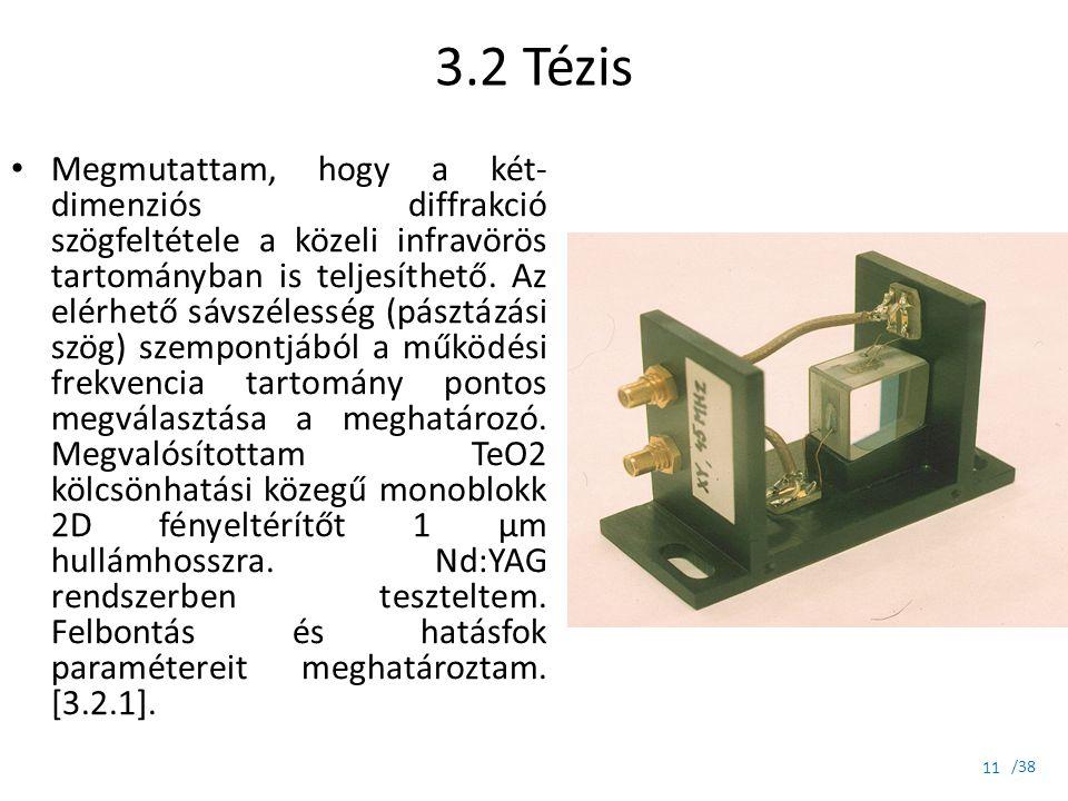 /38 3.2 Tézis Megmutattam, hogy a két- dimenziós diffrakció szögfeltétele a közeli infravörös tartományban is teljesíthető. Az elérhető sávszélesség (