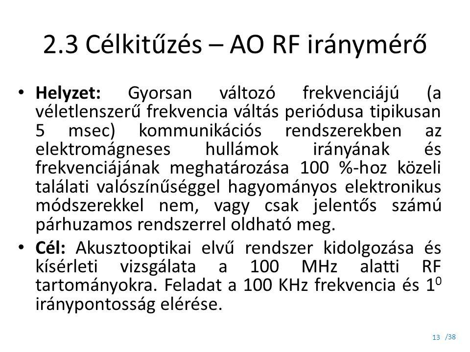 /38 2.3 Célkitűzés – AO RF iránymérő Helyzet: Gyorsan változó frekvenciájú (a véletlenszerű frekvencia váltás periódusa tipikusan 5 msec) kommunikáció
