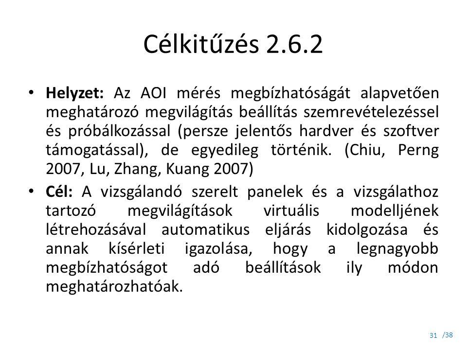 /38 Célkitűzés 2.6.2 Helyzet: Az AOI mérés megbízhatóságát alapvetően meghatározó megvilágítás beállítás szemrevételezéssel és próbálkozással (persze