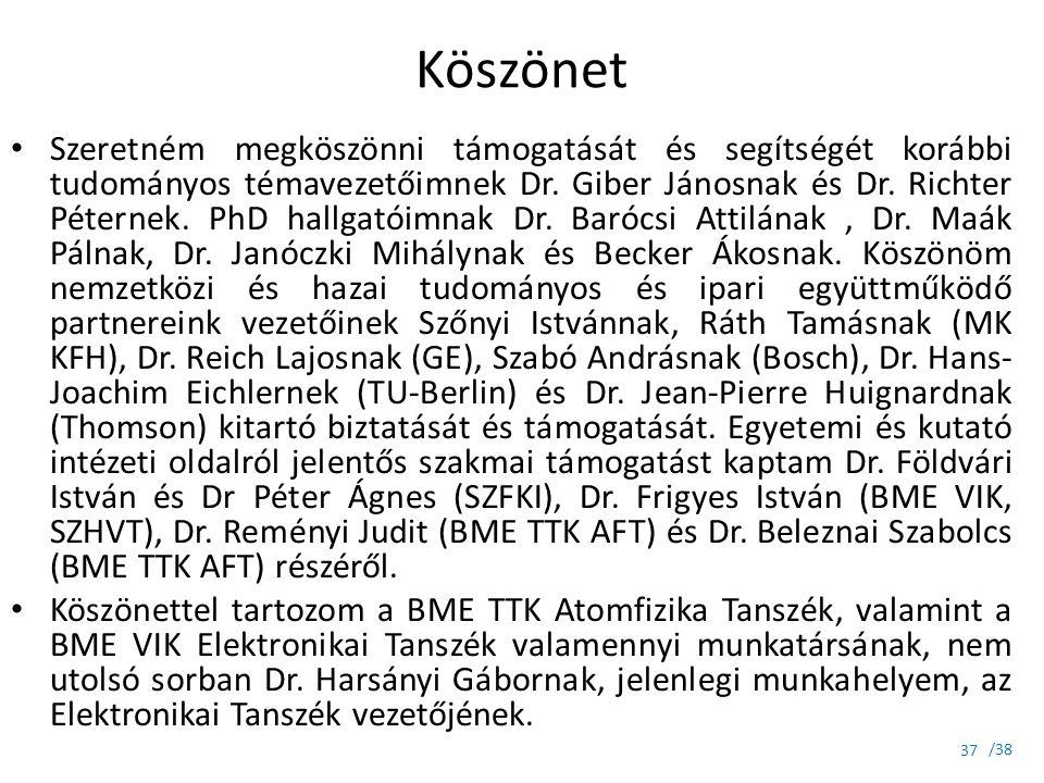 /38 Köszönet Szeretném megköszönni támogatását és segítségét korábbi tudományos témavezetőimnek Dr. Giber Jánosnak és Dr. Richter Péternek. PhD hallga