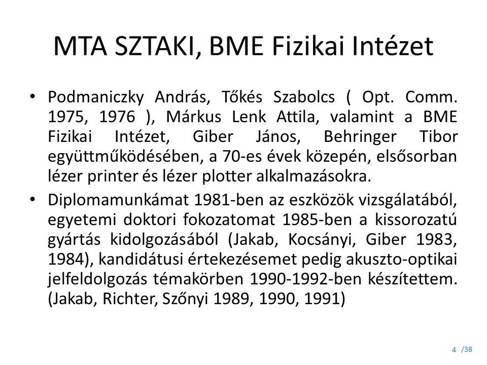 /38 MTA SZTAKI, BME Fizikai Intézet Podmaniczky András, Tőkés Szabolcs ( Opt. Comm. 1975, 1976 ), Márkus Lenk Attila, valamint a BME Fizikai Intézet,