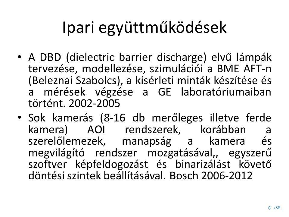 /38 Ipari együttműködések A DBD (dielectric barrier discharge) elvű lámpák tervezése, modellezése, szimulációi a BME AFT-n (Beleznai Szabolcs), a kísé