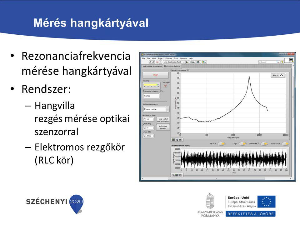 Mérés hangkártyával Rezonanciafrekvencia mérése hangkártyával Rendszer: – Hangvilla rezgés mérése optikai szenzorral – Elektromos rezgőkör (RLC kör)