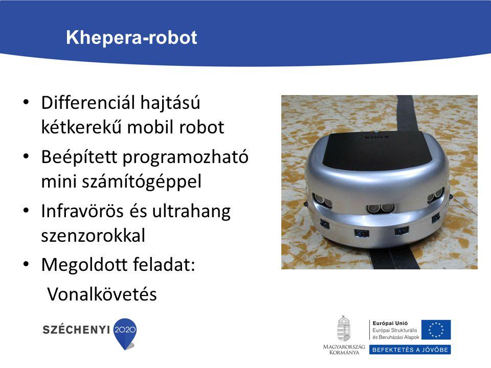 Khepera-robot Differenciál hajtású kétkerekű mobil robot Beépített programozható mini számítógéppel Infravörös és ultrahang szenzorokkal Megoldott fel