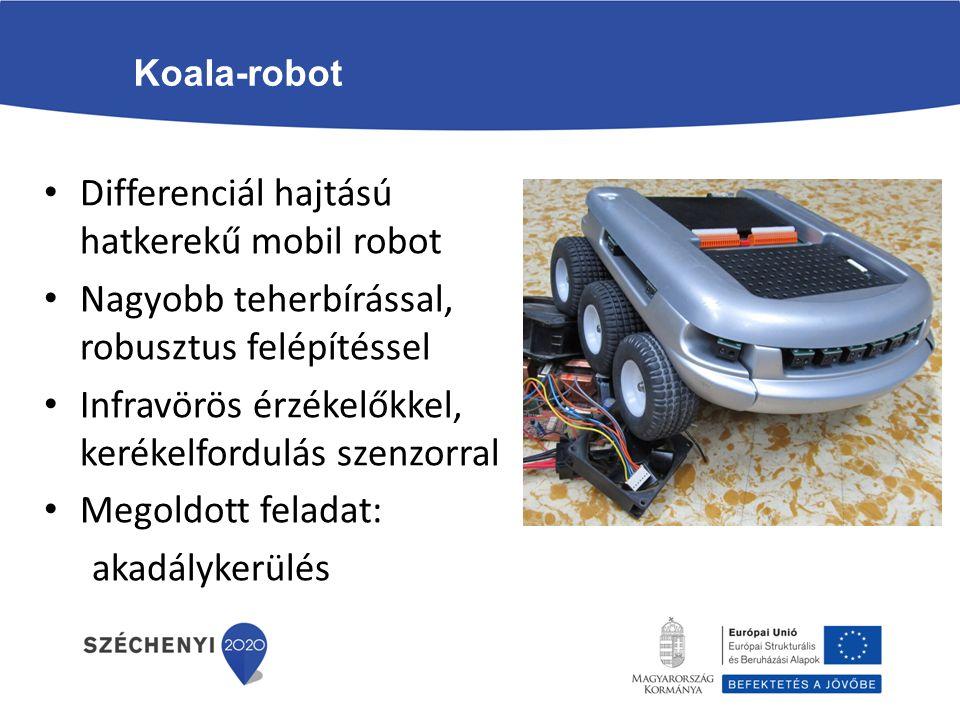 Koala-robot Differenciál hajtású hatkerekű mobil robot Nagyobb teherbírással, robusztus felépítéssel Infravörös érzékelőkkel, kerékelfordulás szenzorr