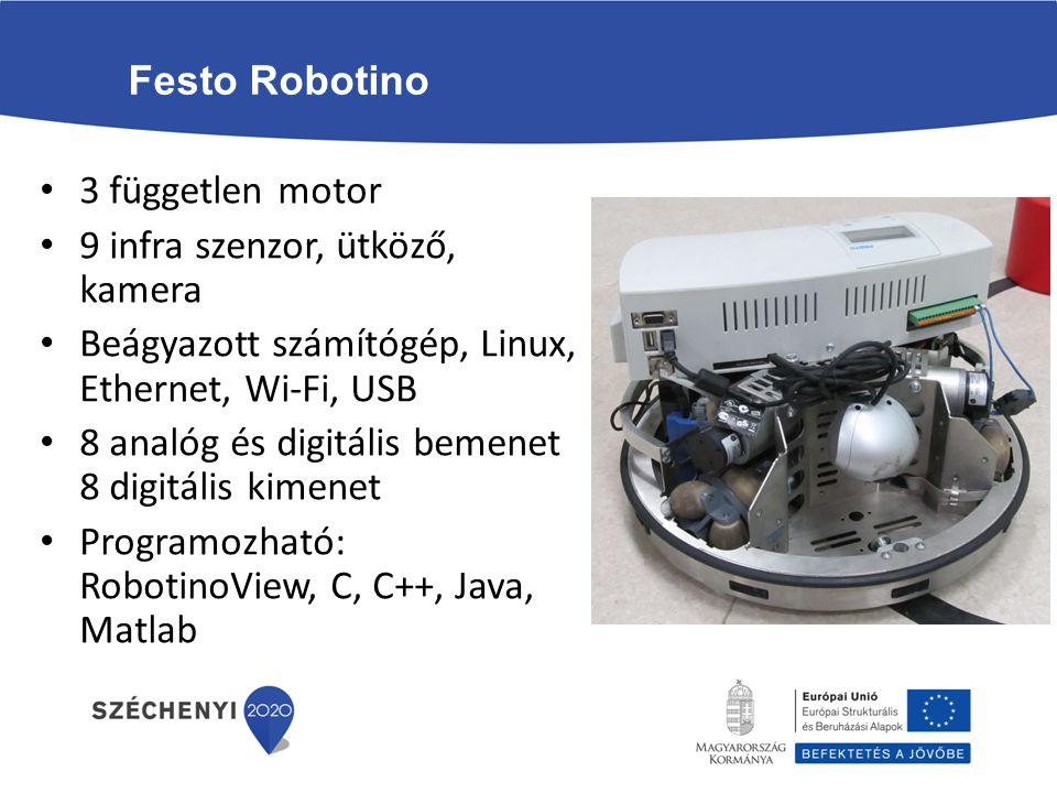 Festo Robotino 3 független motor 9 infra szenzor, ütköző, kamera Beágyazott számítógép, Linux, Ethernet, Wi-Fi, USB 8 analóg és digitális bemenet 8 di