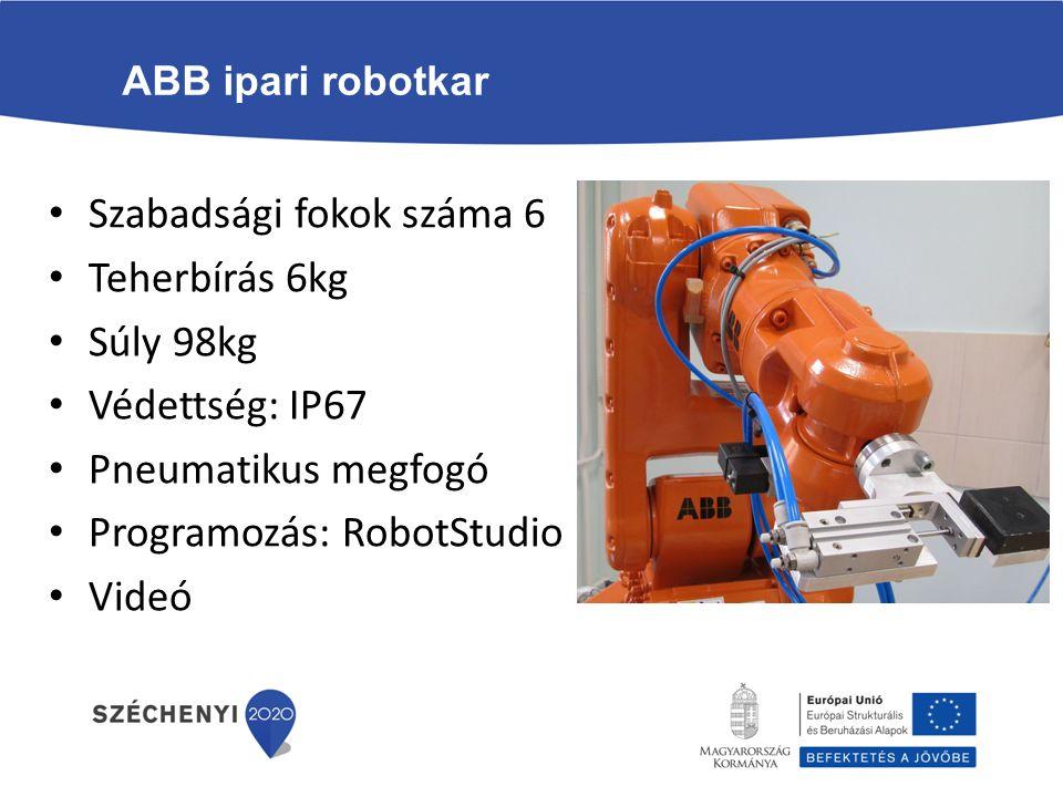 ABB ipari robotkar Szabadsági fokok száma 6 Teherbírás 6kg Súly 98kg Védettség: IP67 Pneumatikus megfogó Programozás: RobotStudio Videó