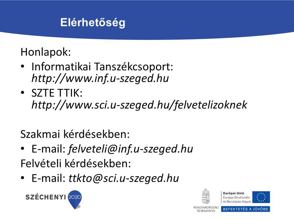 Elérhetőség Honlapok: Informatikai Tanszékcsoport: http://www.inf.u-szeged.hu SZTE TTIK: http://www.sci.u-szeged.hu/felvetelizoknek Szakmai kérdésekbe