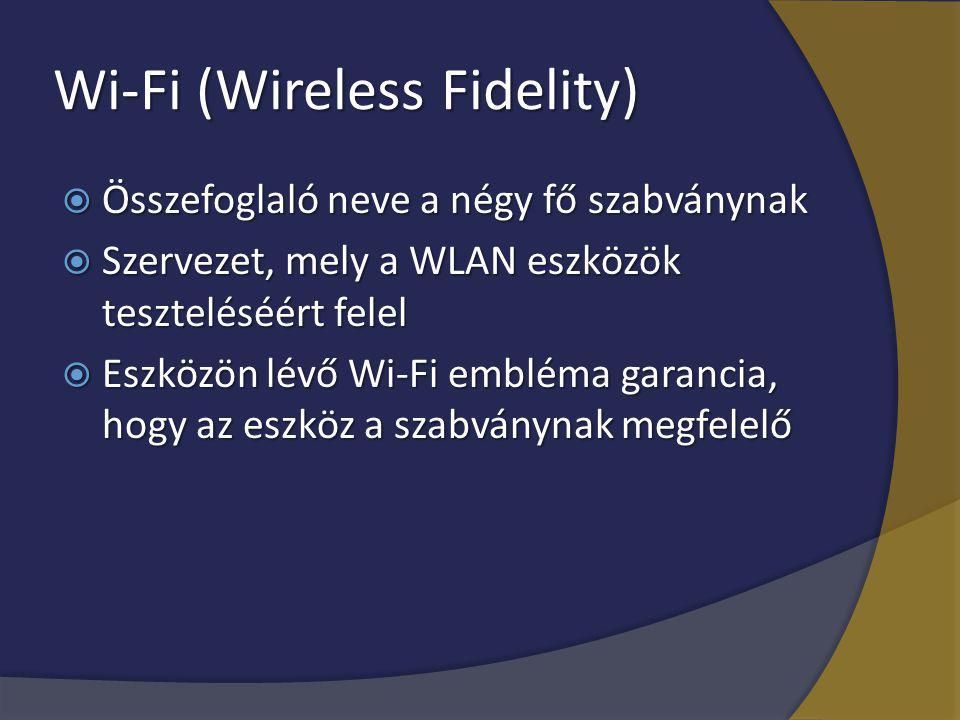 Wi-Fi (Wireless Fidelity)  Összefoglaló neve a négy fő szabványnak  Szervezet, mely a WLAN eszközök teszteléséért felel  Eszközön lévő Wi-Fi emblém