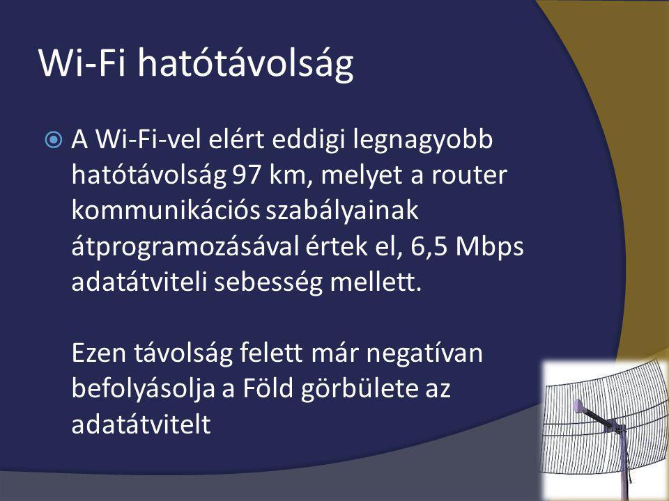 Wi-Fi hatótávolság  A Wi-Fi-vel elért eddigi legnagyobb hatótávolság 97 km, melyet a router kommunikációs szabályainak átprogramozásával értek el, 6,