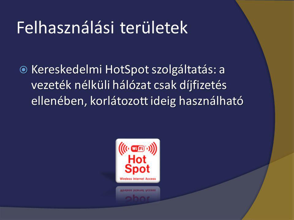 Felhasználási területek  Kereskedelmi HotSpot szolgáltatás: a vezeték nélküli hálózat csak díjfizetés ellenében, korlátozott ideig használható
