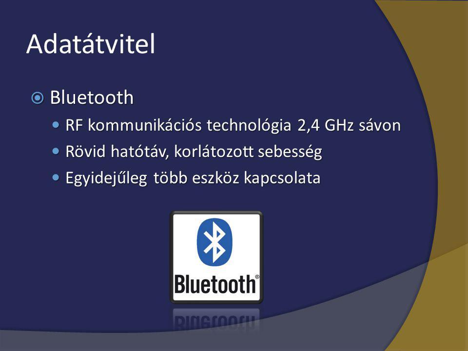 Adatátvitel  Bluetooth RF kommunikációs technológia 2,4 GHz sávon RF kommunikációs technológia 2,4 GHz sávon Rövid hatótáv, korlátozott sebesség Rövi