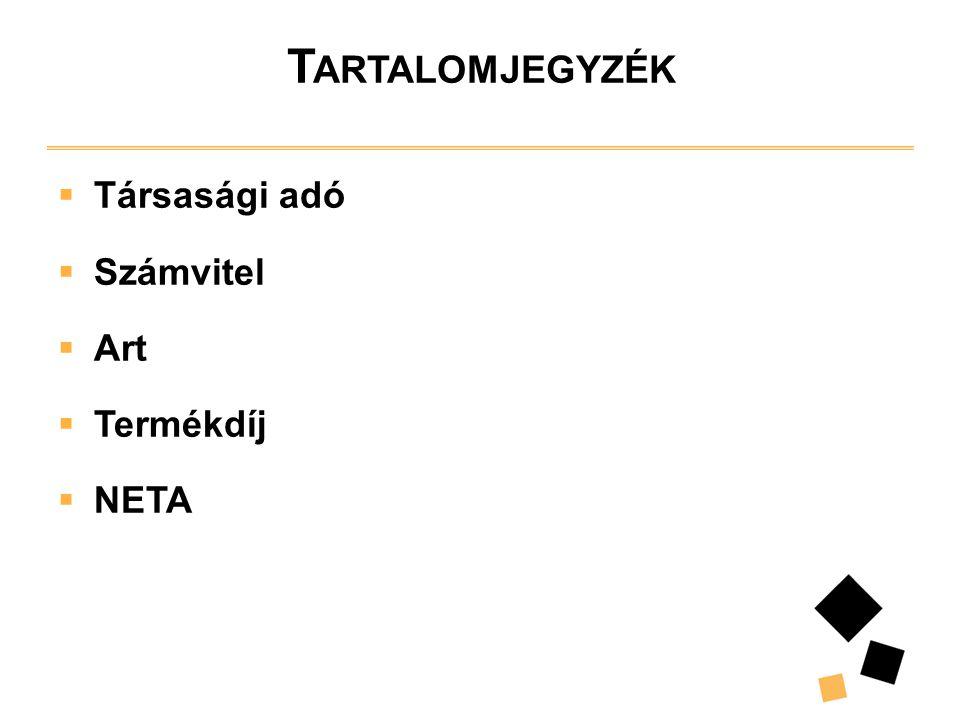 T ARTALOMJEGYZÉK  Társasági adó  Számvitel  Art  Termékdíj  NETA