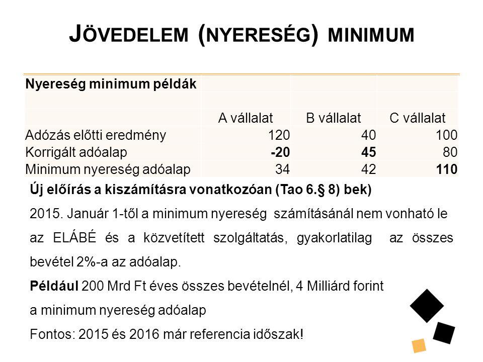 J ÖVEDELEM ( NYERESÉG ) MINIMUM Nyereség minimum példák A vállalatB vállalatC vállalat Adózás előtti eredmény12040100 Korrigált adóalap-204580 Minimum