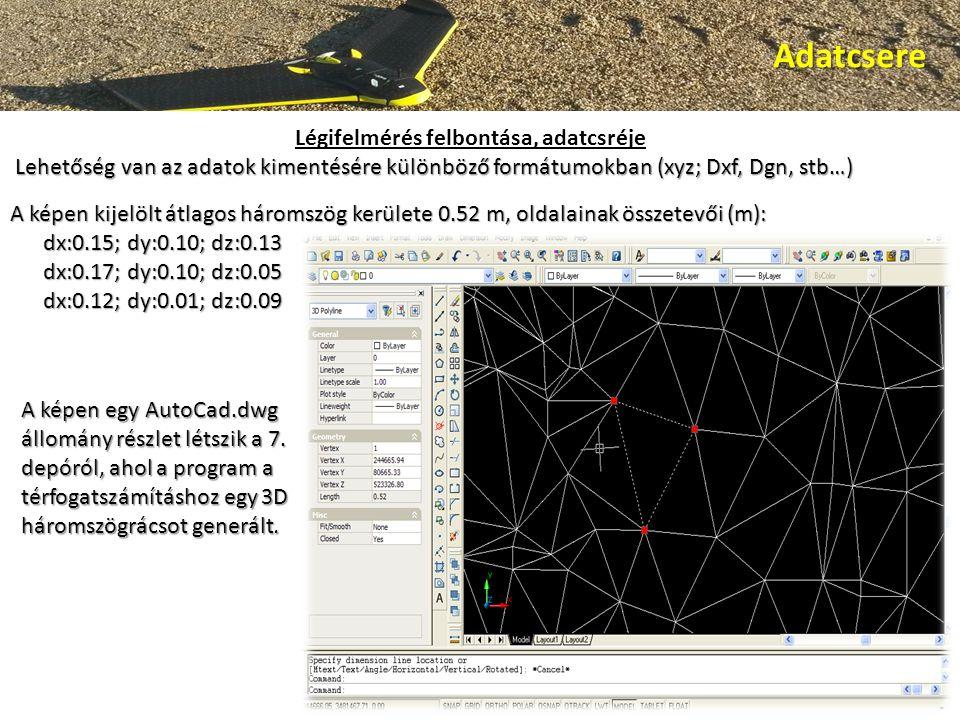 Adatcsere A képen kijelölt átlagos háromszög kerülete 0.52 m, oldalainak összetevői (m): dx:0.15; dy:0.10; dz:0.13 dx:0.15; dy:0.10; dz:0.13 dx:0.17; dy:0.10; dz:0.05 dx:0.17; dy:0.10; dz:0.05 dx:0.12; dy:0.01; dz:0.09 dx:0.12; dy:0.01; dz:0.09 A képen egy AutoCad.dwg állomány részlet létszik a 7.