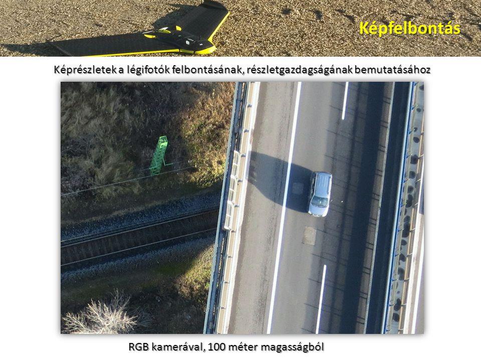 Képfelbontás Képrészletek a légifotók felbontásának, részletgazdagságának bemutatásához RGB kamerával, 100 méter magasságból