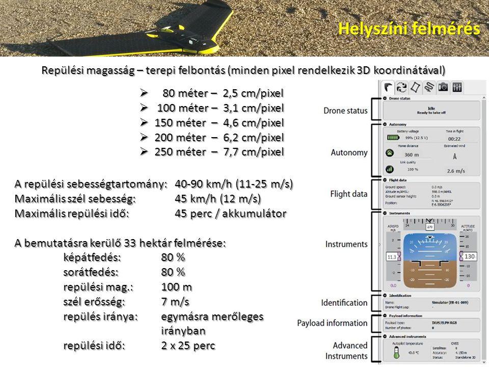 Helyszíni felmérés Repülési magasság – terepi felbontás (minden pixel rendelkezik 3D koordinátával)  80 méter – 2,5 cm/pixel  100 méter – 3,1 cm/pixel  150 méter – 4,6 cm/pixel  200 méter – 6,2 cm/pixel  250 méter – 7,7 cm/pixel A repülési sebességtartomány: 40-90 km/h (11-25 m/s) Maximális szél sebesség: 45 km/h (12 m/s) Maximális repülési idő: 45 perc / akkumulátor A bemutatásra kerülő 33 hektár felmérése: képátfedés:80 % sorátfedés:80 % repülési mag.:100 m szél erősség:7 m/s repülés iránya:egymásra merőleges irányban repülési idő:2 x 25 perc