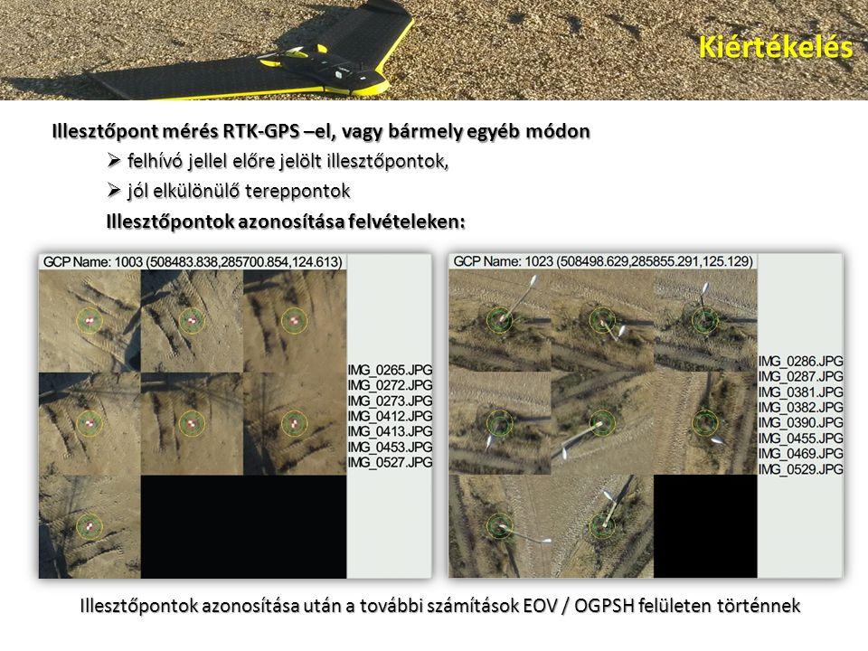 Illesztőpont mérés RTK-GPS –el, vagy bármely egyéb módon  felhívó jellel előre jelölt illesztőpontok,  jól elkülönülő tereppontok Illesztőpontok azonosítása felvételeken: Kiértékelés Illesztőpontok azonosítása után a további számítások EOV / OGPSH felületen történnek
