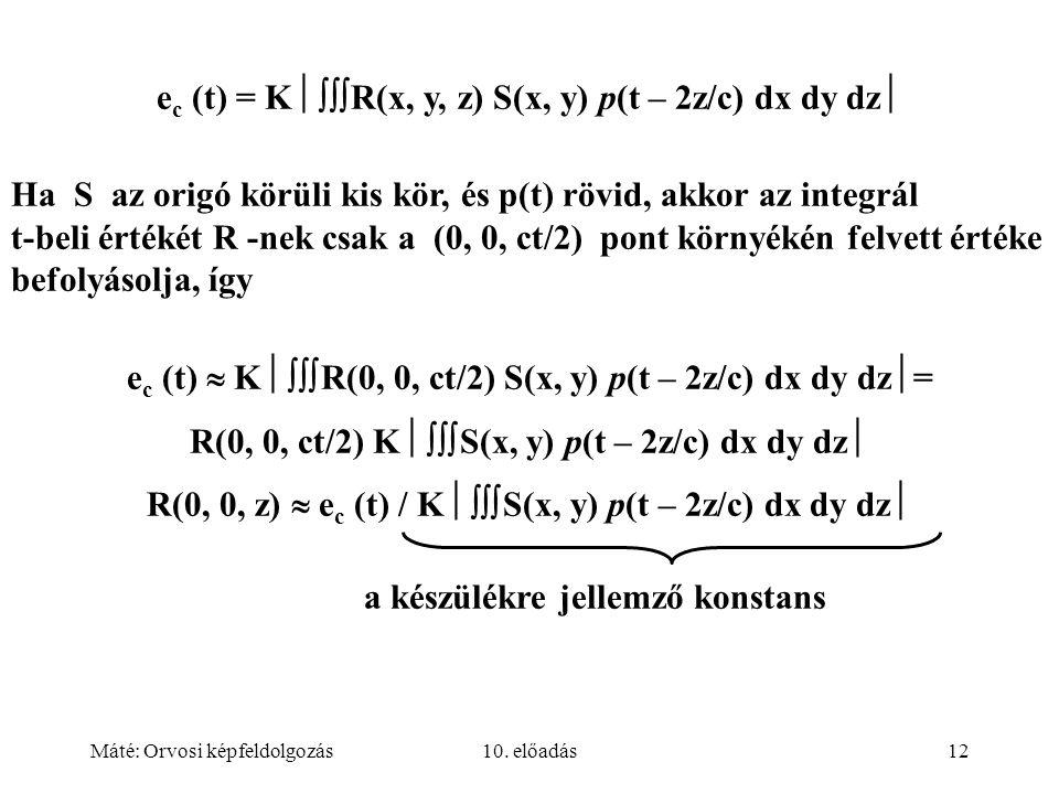 Máté: Orvosi képfeldolgozás10. előadás12 e c (t) = K  R(x, y, z) S(x, y) p(t – 2z/c) dx dy dz  Ha S az origó körüli kis kör, és p(t) rövid, akkor