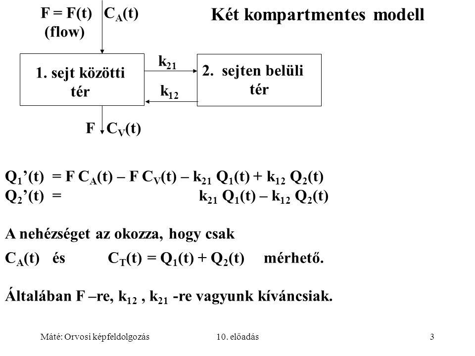 Máté: Orvosi képfeldolgozás10. előadás3 F = F(t) C A (t) (flow) k 12 k 21 1. sejt közötti tér 2. sejten belüli tér F C V (t) Q 1 '(t)= F C A (t) – F C
