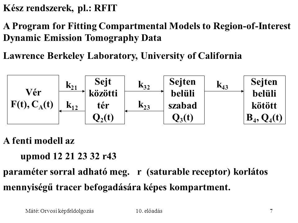 Máté: Orvosi képfeldolgozás10. előadás7 Kész rendszerek, pl.: RFIT A Program for Fitting Compartmental Models to Region-of-Interest Dynamic Emission T