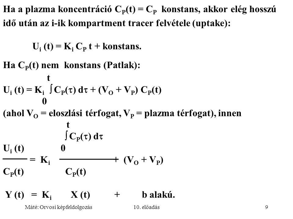 Máté: Orvosi képfeldolgozás10. előadás9 Ha a plazma koncentráció C P (t) = C P konstans, akkor elég hosszú idő után az i-ik kompartment tracer felvéte