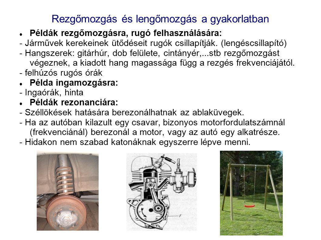 Rezgőmozgás és lengőmozgás a gyakorlatban Példák rezgőmozgásra, rugó felhasználására: - Járművek kerekeinek ütődéseit rugók csillapítják. (lengéscsill