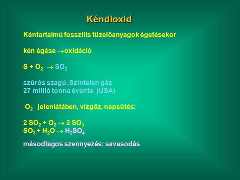 Kéndioxid Kéntartalmú fosszilis tüzelőanyagok égetésekor kén égése  oxidáció S + O 2  SO 2 szúrós szagú.