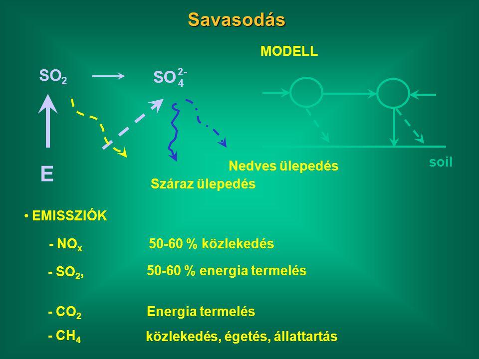 Savasodás SO 2 Száraz ülepedés Nedves ülepedés E MODELL soil EMISSZIÓK - NO x - SO 2, 50-60 % közlekedés 50-60 % energia termelés - CO 2 Energia termelés - CH 4 közlekedés, égetés, állattartás
