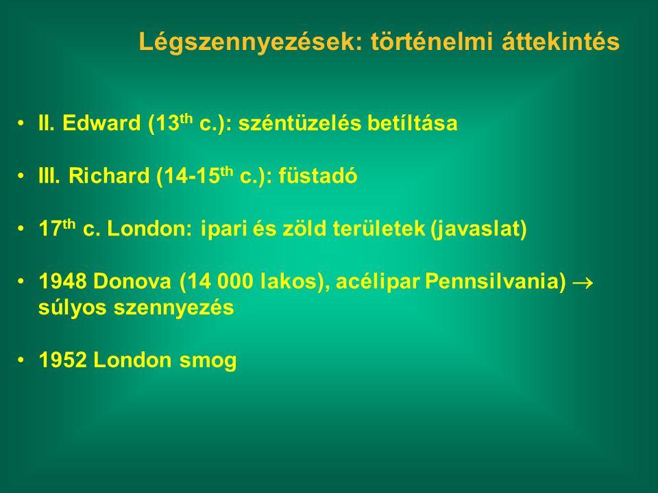 Légszennyezések: történelmi áttekintés II. Edward (13 th c.): széntüzelés betíltása III. Richard (14-15 th c.): füstadó 17 th c. London: ipari és zöld