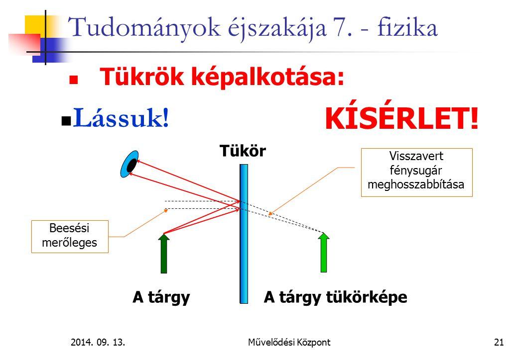 2014. 09. 13.Művelődési Központ 21 Tudományok éjszakája 7. - fizika Tükrök képalkotása: Lássuk! KÍSÉRLET! A tárgyA tárgy tükörképe Tükör Beesési meről