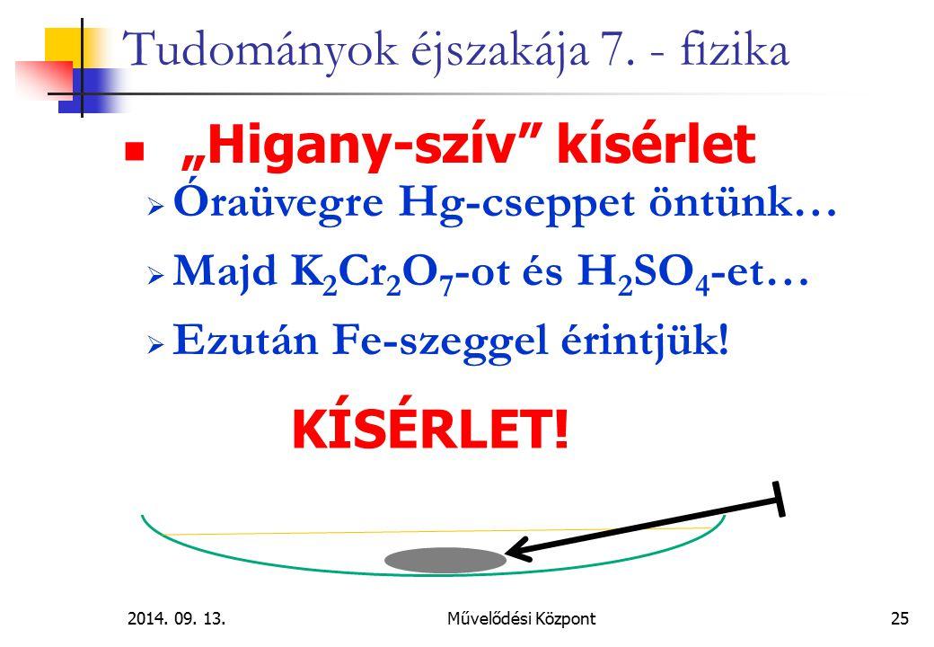 """2014. 09. 13.Művelődési Központ 25 Tudományok éjszakája 7. - fizika """"Higany-szív"""" kísérlet  Óraüvegre Hg-cseppet öntünk…  Majd K 2 Cr 2 O 7 -ot és H"""