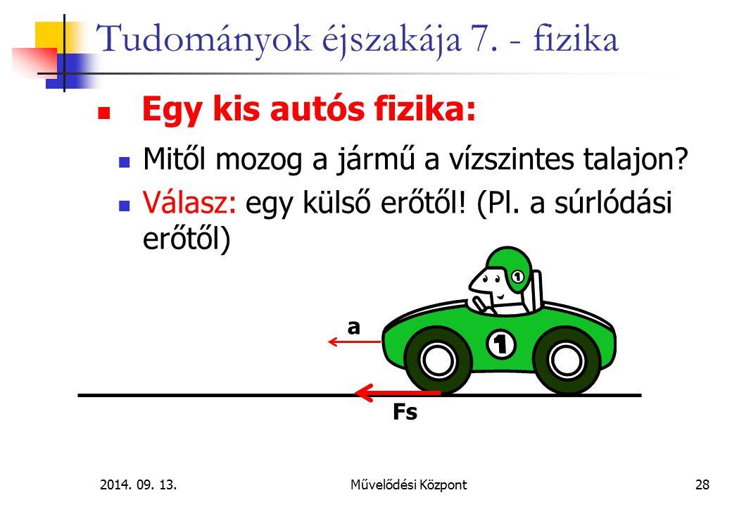 2014. 09. 13.Művelődési Központ28 Tudományok éjszakája 7. - fizika Egy kis autós fizika: Mitől mozog a jármű a vízszintes talajon? Válasz: egy külső e
