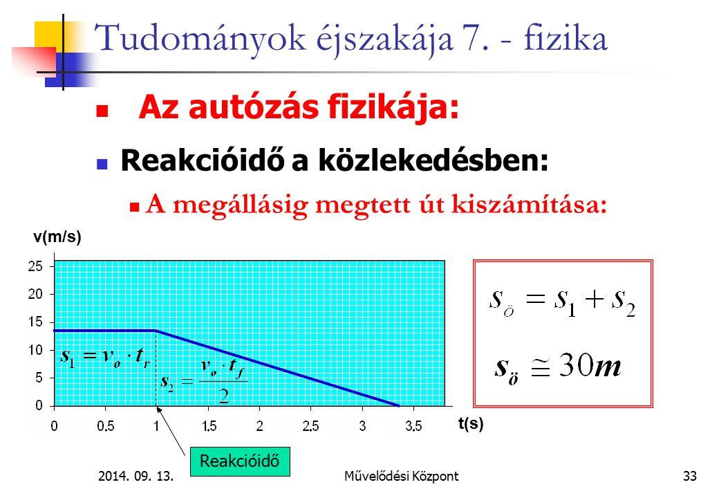 2014. 09. 13.Művelődési Központ33 Tudományok éjszakája 7. - fizika Az autózás fizikája: Reakcióidő a közlekedésben: A megállásig megtett út kiszámítás