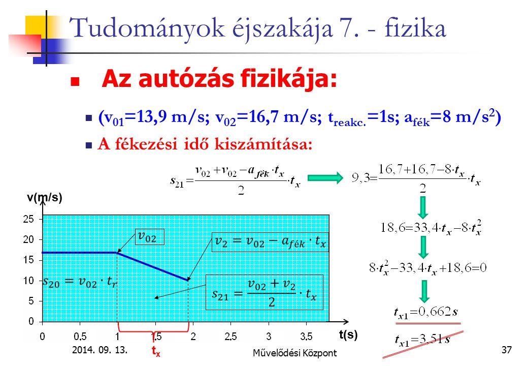 2014. 09. 13. Művelődési Központ 37 Tudományok éjszakája 7. - fizika Az autózás fizikája: (v 01 =13,9 m/s; v 02 =16,7 m/s; t reakc. =1s; a fék =8 m/s