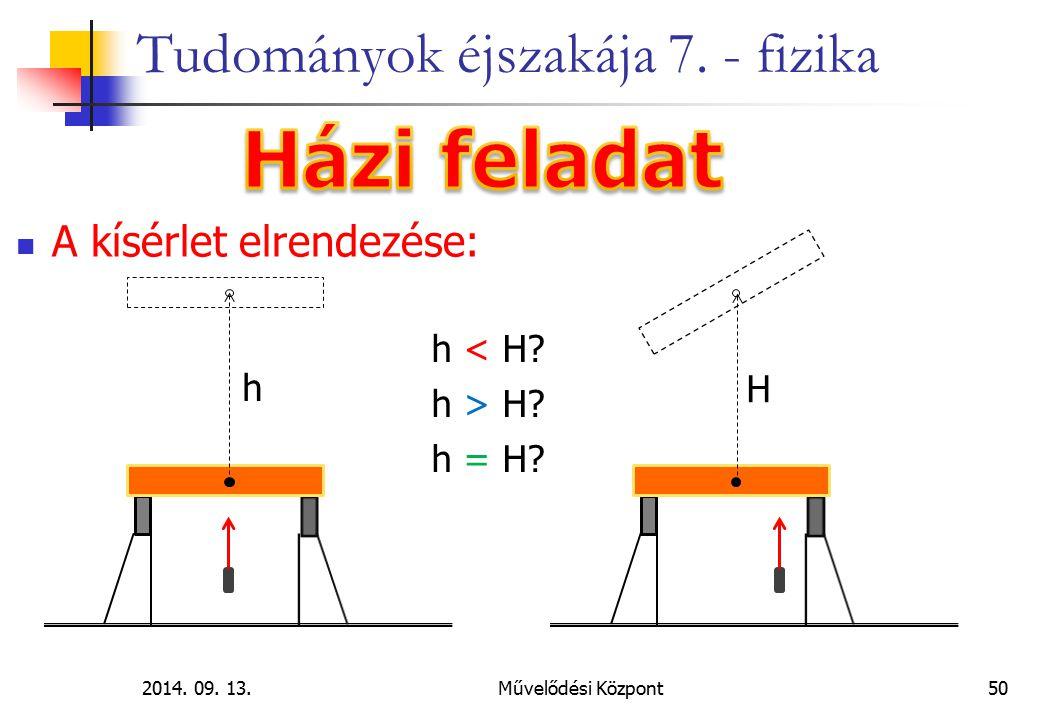 2014. 09. 13.Művelődési Központ50 Tudományok éjszakája 7. - fizika A kísérlet elrendezése: h H h < H? h > H? h = H?