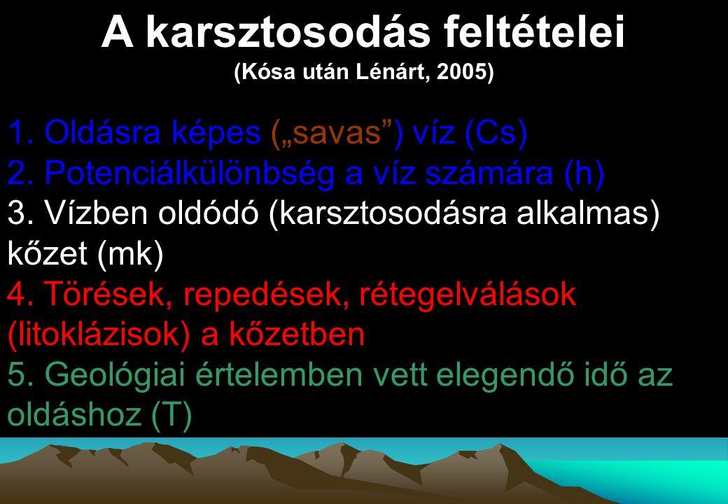 """A karsztosodás feltételei (Kósa után Lénárt, 2005) 1. Oldásra képes (""""savas"""") víz (Cs) 2. Potenciálkülönbség a víz számára (h) 3. Vízben oldódó (karsz"""