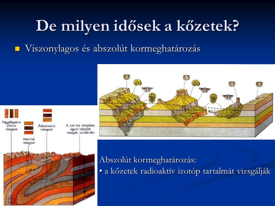 De milyen idősek a kőzetek? Viszonylagos és abszolút kormeghatározás Viszonylagos és abszolút kormeghatározás Abszolút kormeghatározás: a kőzetek radi