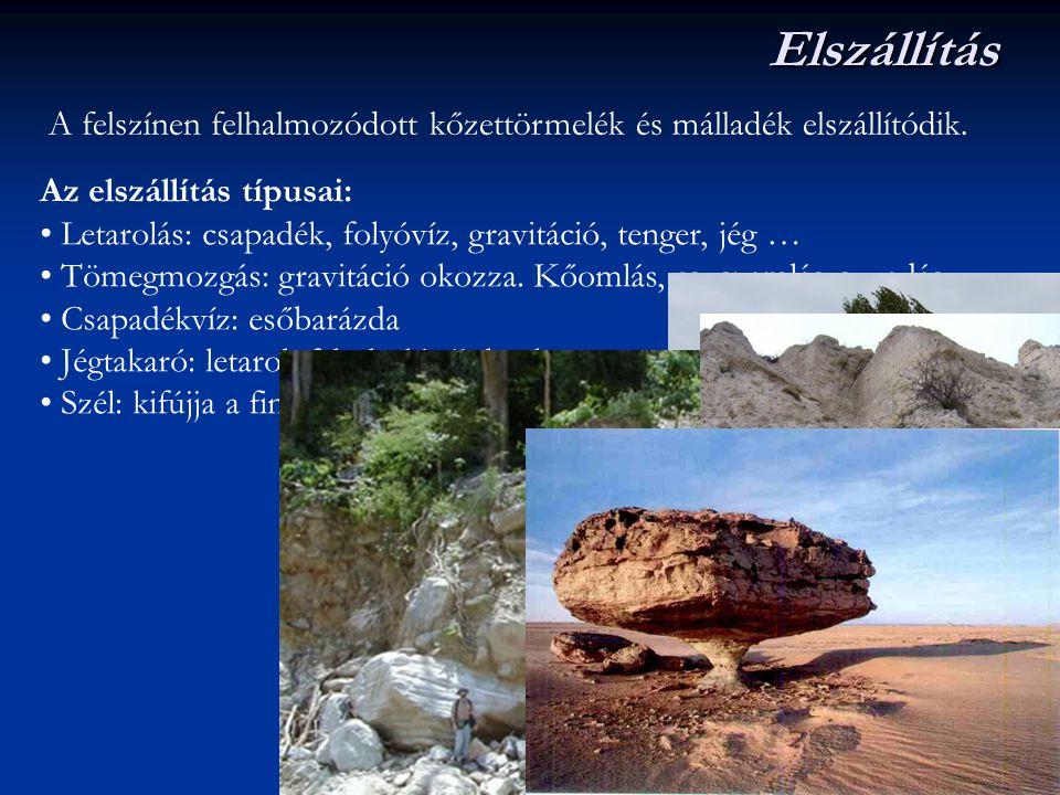 Elszállítás A felszínen felhalmozódott kőzettörmelék és málladék elszállítódik. Az elszállítás típusai: Letarolás: csapadék, folyóvíz, gravitáció, ten